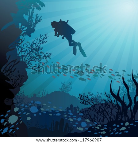 Coral reef with fish and silhouette of diver on blue sea background - stock vector