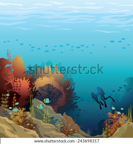 Coral reef with school of fish and silhouette of two divers on a blue sea. Underwater vector illustration. - stock vector