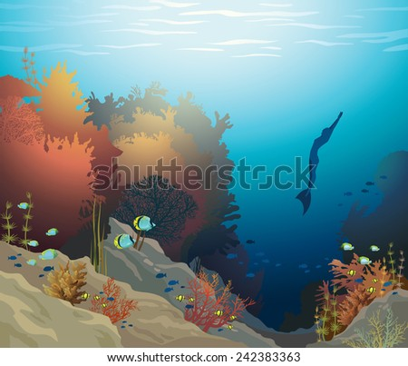 Coral reef with underwater creatures and silhouette of free diver on a blue sea. Vector ocean illustration. - stock vector