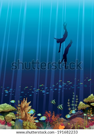 Coral reef with underwater creatures and two freedivers in a blue sea. Underwater vector. - stock vector