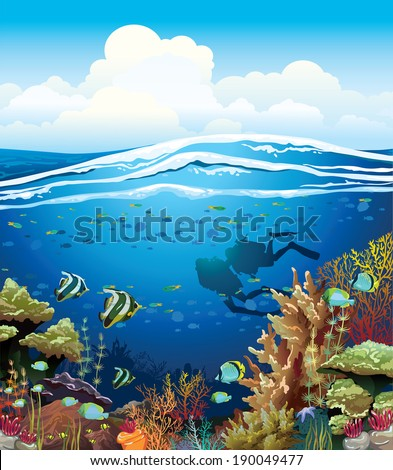 Coral reef with underwater creatures and two scuba divers under the blue sky. - stock vector