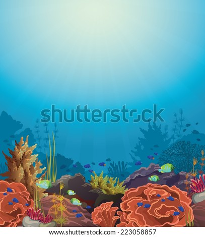 Coral reef with underwater creatures on a blue sea. - stock vector