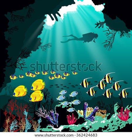 Coral reef with various species of fish and silhouette of diver over blue sea background. - stock vector