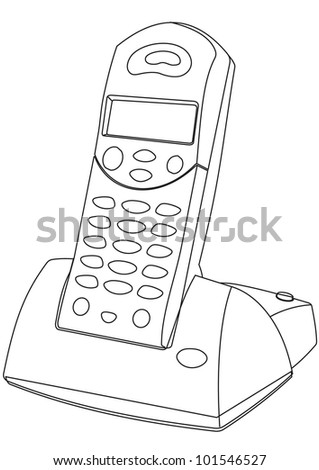 Cordless Phone vector - contour outline illustration - stock vector