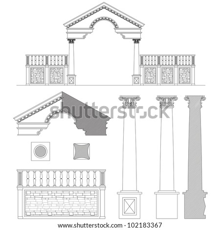 Corinthian column, gate and fence set - stock vector