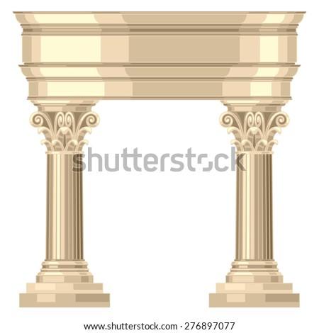 Corinthian realistic antique greek temple with columns. - stock vector