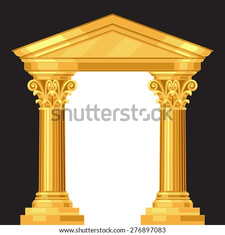 Corinthian realistic antique greek temple with columns. - stock vector