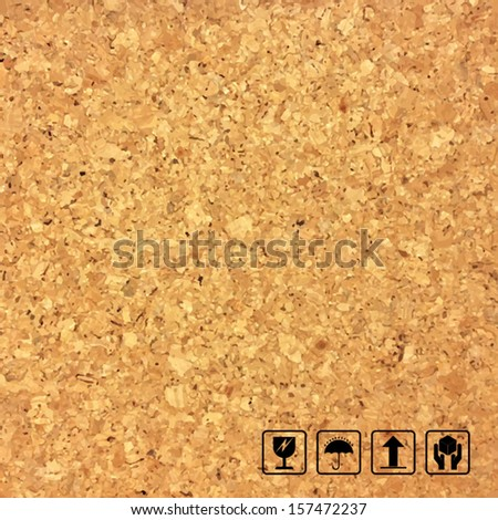 Cork board texture background and fragile symbol - Vector illustration - stock vector
