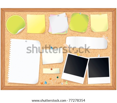 Cork message board with various paper notes and memo stickers - vector illustration , all elements separated - stock vector