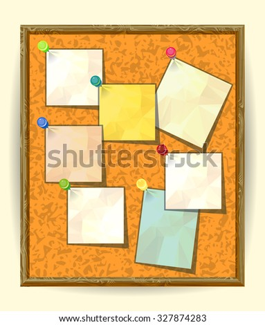 Cork Notice board with Seven Pinned Stick Notes. Blank colored sheets for notes, pinned ready for your text. Post-it notes with pushpins on textured Cork board, Notice board, School bulletin board - stock vector