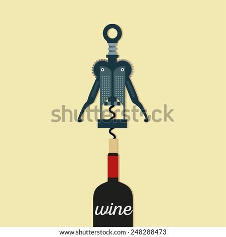 Corkscrew modern  with bottle of wine Vector illustration - stock vector