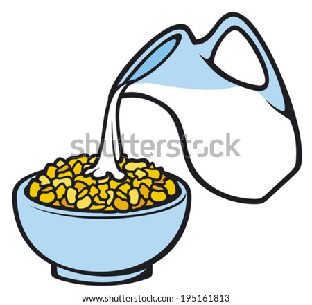 corn flakes and milk (breakfast cereal with milk in bowl, cereal meal)  - stock vector
