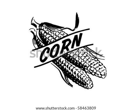 Corn - Header - Retro Clip Art - stock vector