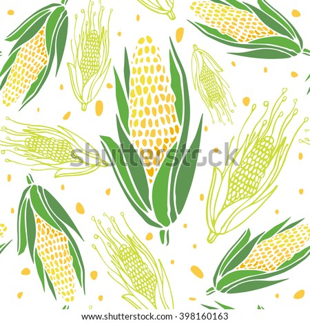 Corn seamless pattern. Abstract corn on white background. Hand drawn Vector illustration - stock vector