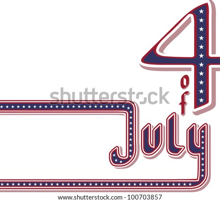 corner calligraphy Fourth of July. No fonts were used. - stock vector