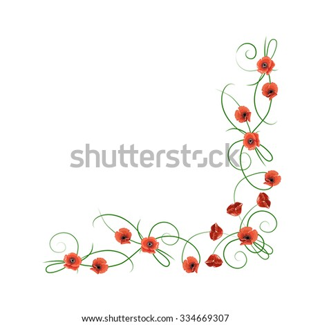 Corner composition from red poppies flowers isolated on white background for greeting card or invitation design. - stock vector