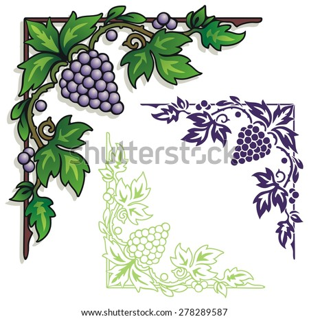 Corner element of grapes, leaves and vines - stock vector