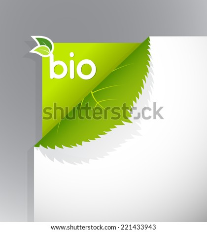 Corner on paper with bio sign. - stock vector