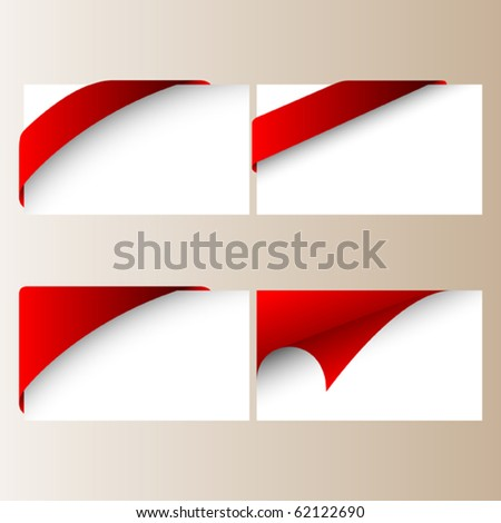 corner ribbons set - stock vector