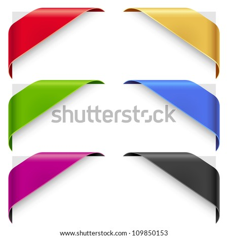 Corner ribbons vector set for a new, sale and sold out items - stock vector