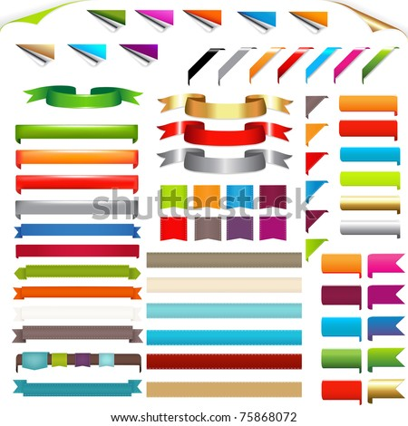 Corners And Ribbons, Isolated On White Background, Vector Illustration - stock vector