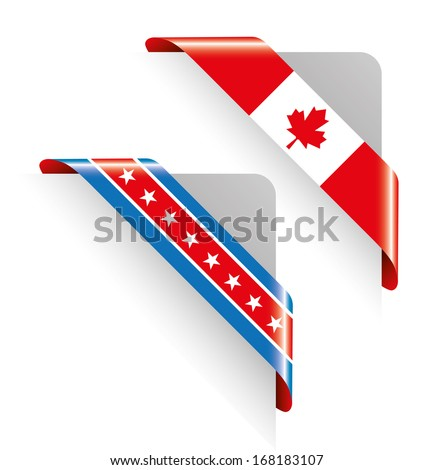 Corners with USA and Canada Flags - stock vector