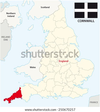 Cornwall Map Images Cornwall County Map With Flag