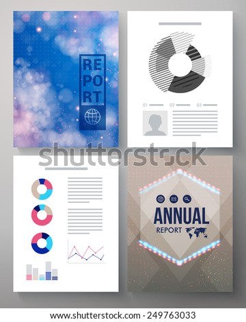 Corporate Annual report vector template of four pages with twinkling stars in a blue sky, a hexagonal emblem or logo, editable copyspace for text and various analytical graphs - stock vector