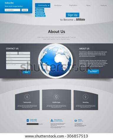 Corporate Blue Website template, Design Eps 10 - stock vector