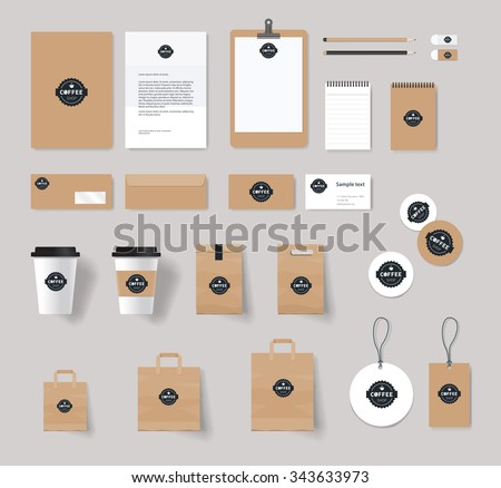 corporate branding identity mock up template for coffee shop and restaurant. card .menu.vector.stationary.packaging, - stock vector