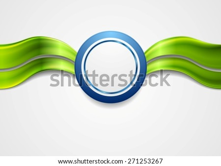 Corporate bright abstract background. Waves and circle. Vector art design - stock vector