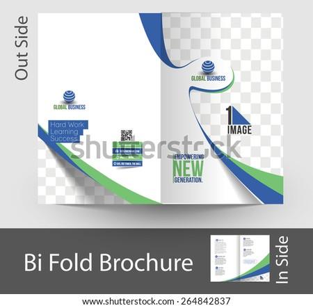 Corporate Business Bi-Fold Brochure Design - stock vector