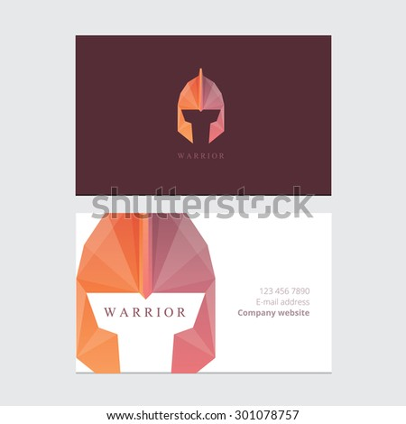 Corporate business card template mockup with ancient warrior helmet logo design in low polygon style - stock vector
