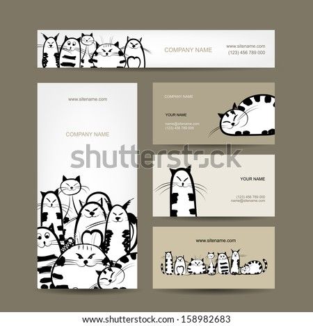 Corporate business cards design with funny striped cats - stock vector