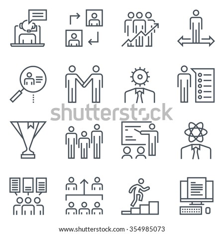 Corporate business icon set suitable for info graphics, websites and print media. Black and white flat line icons. - stock vector