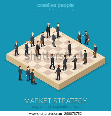 Corporate business market strategy flat style 3d isometric design vector illustration infographics concept. Businessmen are figures on chessboard playing real life game. Creative people collection. - stock vector