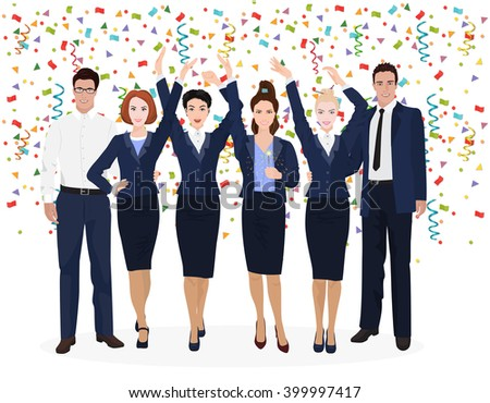 Corporate Business Team Enjoying Success and celebrate new developments. Confetti on the alpha white background. Business Team celebrating, Business Team celebrating together - stock vector