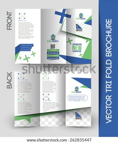 Corporate Business Tri-Fold Brochure Design - stock vector