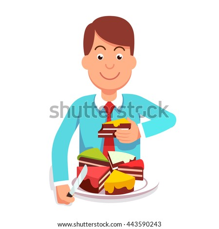 Corporate businessman or government clerk eating market shares pie segment of metaphoric cake chart. Corporation takeover or governmental regulation concept. Flat style vector character illustration. - stock vector