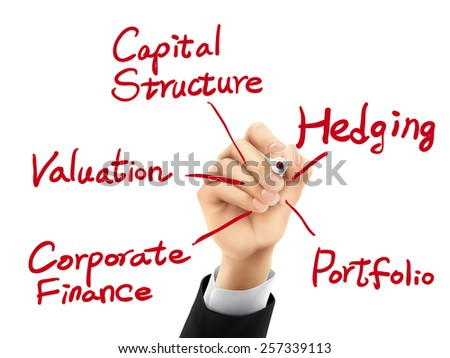 corporate finance concept written by hand on a transparent board - stock vector