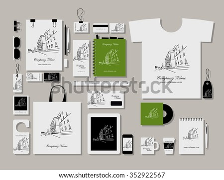 Corporate flat mock-up template, cityscape design. Vector illustration - stock vector