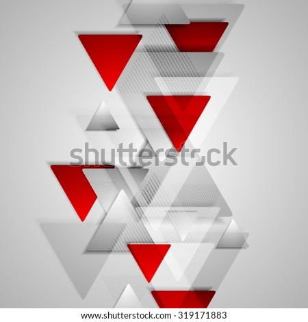 Corporate geometric background with grey and red triangles. Vector design illustration - stock vector