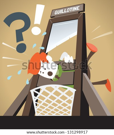 Corporate Guy gets the Chop. - stock vector