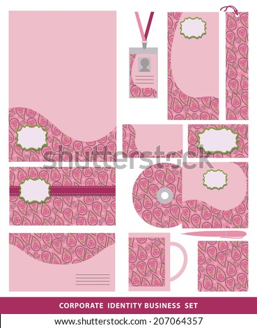 Corporate identity business set .Design template with Ethnic paisley  pattern.Company style for brandbook and guideline.Oriental ornament. Vector graphics pattern.  - stock vector