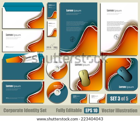Corporate identity business set template. Blank cd - dvd, business cards, envelope, mouse pad. Fully editable eps10 vector illustration - stock vector
