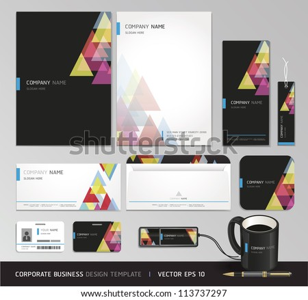 Corporate identity business set. Vector illustration. - stock vector