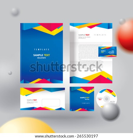 Corporate identity design template colorful polygonal abstract triangles set - stock vector