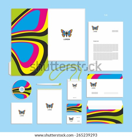 Corporate identity design vector - Stationery set design - butterfly - wings - sign, symbol. - stock vector