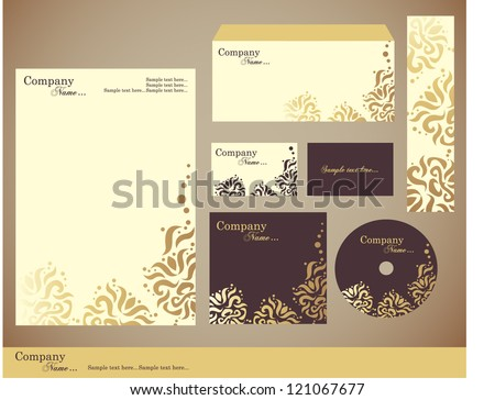Corporate identity kit or business kit with artistic, abstract floral element for your business includes CD Cover, Business Card, Envelope and Letter Head Designs - stock vector
