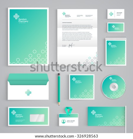 Corporate identity medical branding template. Abstract Pharmacy vector stationery design on light green background. Business documentation - stock vector